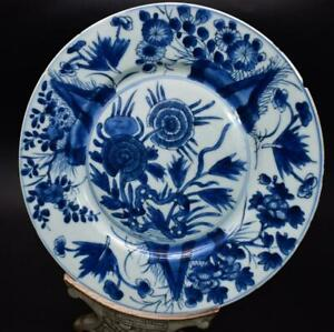 ANTIQUE 18thC CHINESE BLUE & WHITE KANGXI MARK PLATE - FLORAL DECORATION