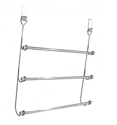 3 tier towel rail chrome plated over door bathroom hanging rack holder storage 5021961099167 ebay