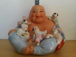 Vintage Happy Buddha W/Babies Sitting Ceramic Porcelain Figure Figurine Statue