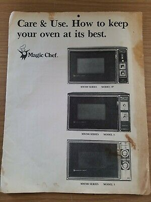 vintage magic chef microwave oven owners manual mw300 model 3 4 5p care instruct ebay