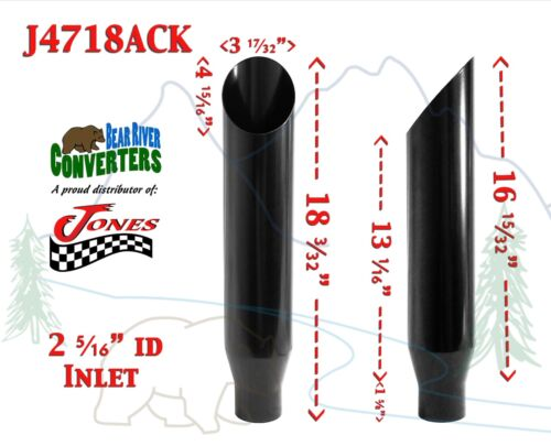 j4718ack pair black stainless truck exhaust tips 2 25 2 1 4 inlet 18 long car truck exhaust pipes tips tu berlin auto parts and vehicles