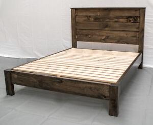 details about rustic farmhouse platform bed headboard king wood platform reclaimed bed