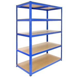 details sur rayonnage t rax bleu etageres rangement industriel metallique garage 5 tier