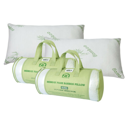 bedding bamboo memory foam bed pillow queen king size home bedroom w carry bag pillow home furniture diy quatrok com br