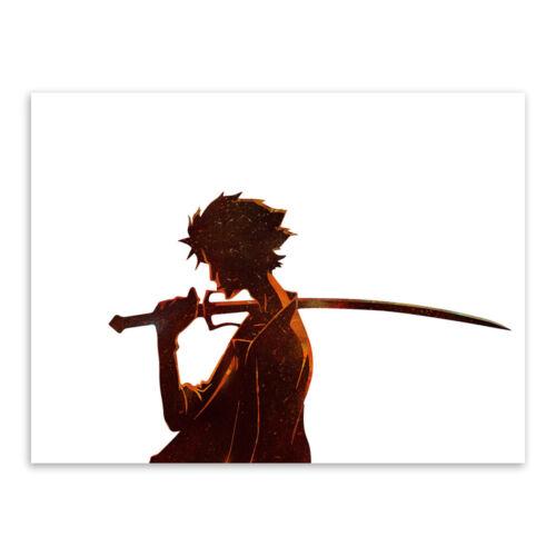 dekoration watercolor samurai champloo anime poster print boy room wall art canvas painting mobel wohnen breathtime kz