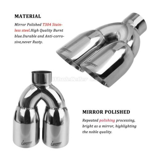 2pcs set upower dual 3 5 od exhaust tip weld on tailpipe 2 5 id 9 5 long