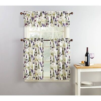 purple green beige wine grapes cafe kitchen curtains set tiers valance window 751637986686 ebay