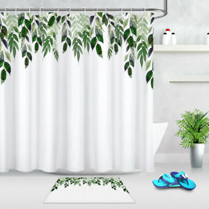 details about spring green leaves branches white fabric shower curtain set bathroom decor 72