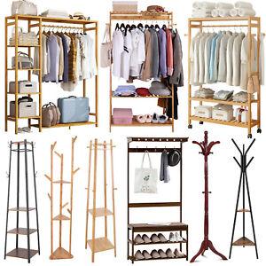 details about xl large metal wooden coat stand clothes hanging rail garment rack shelf closet