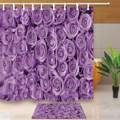 decoracao planta rosa purpura impermeavel cortina de banheiro conjunto de tapetes e 12 ganchos ebay