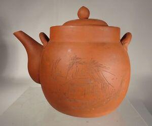 Antique Chinese Yixing Zisha Teapot Signed Landscape Scene Large As Is