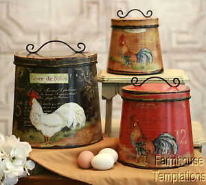 COTTAGE ROOSTER CANISTER SET Shabby FRENCH COUNTRY Chic TIN Tuscan KITCHEN Decor EBay