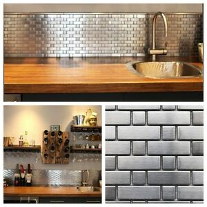 details about stainless steel brick and square metal mosaic tile for kitchen backsplash wall