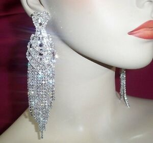 Clear Rhinestone Ab Crystal Chandelier Earrings Drag Queen