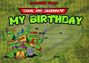 details about teenage mutant ninja turtles birthday invitation tmnt party invites envelopesx8