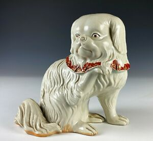 Antique Japanese Pottery Okimono Statue of Seated Dog