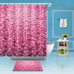 Pink Flicker Sequins Bathroom Decor Fabric Shower Curtain Mat Hook Set 72x72