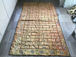 Antique Chinese silk panel, worn& faded size 2mt x 110cm. Approx
