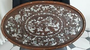 VIETNAMESE CHINESE WOOD MOTHER OF PEARL INLAID TRAY. CHINA .ASIA. VIETNAM