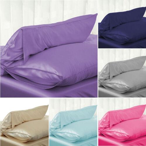 us solid queen standard silk satin pillow case bedding pillowcase smooth home home decor indian south asian home decor pillows