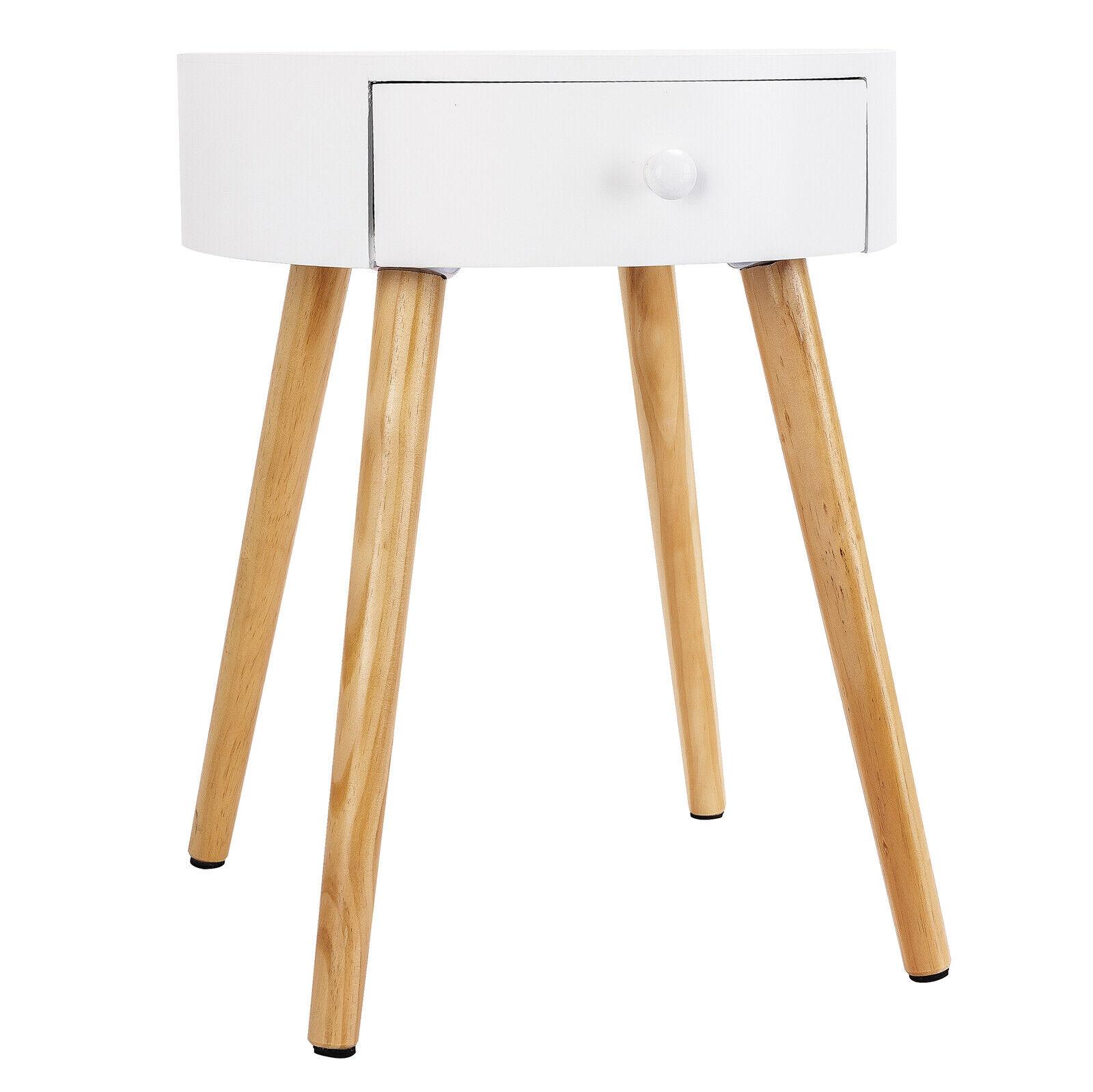 Tisch Nachttisch Nachtkommode Beistelltisch mit Stauraum Holz Weiß TS51ws-1