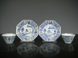 Set Of Two Chinese Porcelain B/W Kangxi Cups&Saucers-L