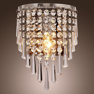 Modern Crystal Wall Sconce Pendant Fixture Lamp Bathroom ... on Crystal Bathroom Sconces id=92517