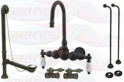 kingston brass oil rubbed bronze clawfoot tub faucet kit with drain supplies