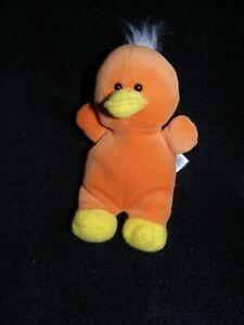 doudou peluche canard orange jaune