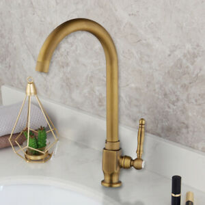 details about antique brass kitchen only cold water sink faucet basin swivel tap deck mounted