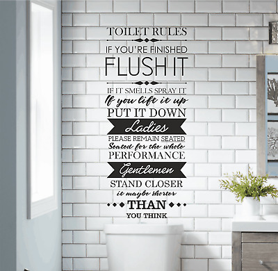 Funny Washroom Toilet Rules Quote Wall Art Stickers Bathroom Decals Home Decor Ebay