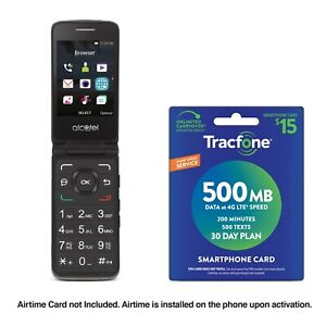 Tracfone Alcatel MyFlip A405 Phone + $15 Tracfone Airtime Plan