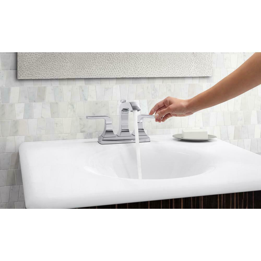 kohler rubicon 4 in centerset 2 handle bathroom faucet in polished chrome a05