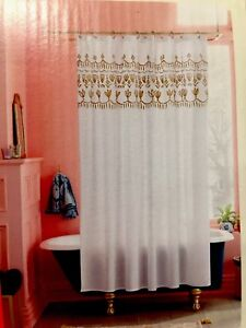 details about opal house metallic gold floral border shower curtain fresh white opalhouse