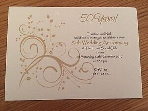 Details About 10 Personalised Golden 50th Wedding Anniversary Invitations Envelopes Supplied