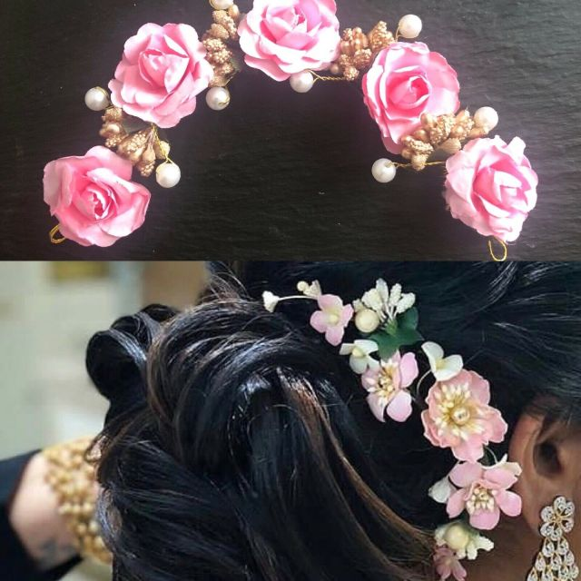 light pink hair gajra floral veni artificial flowers indian hair band tiara