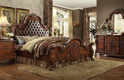 dresden traditional wood queen bed upholstered headboard cherry oak brown red 840412930614 ebay