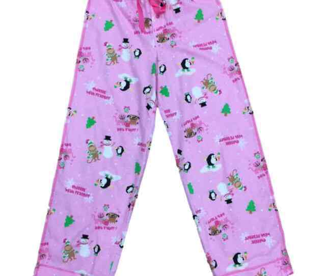 Womens Pink Cat Dog Penguin Sleep Pants Hot Stuff Christmas Pajama Bottoms S