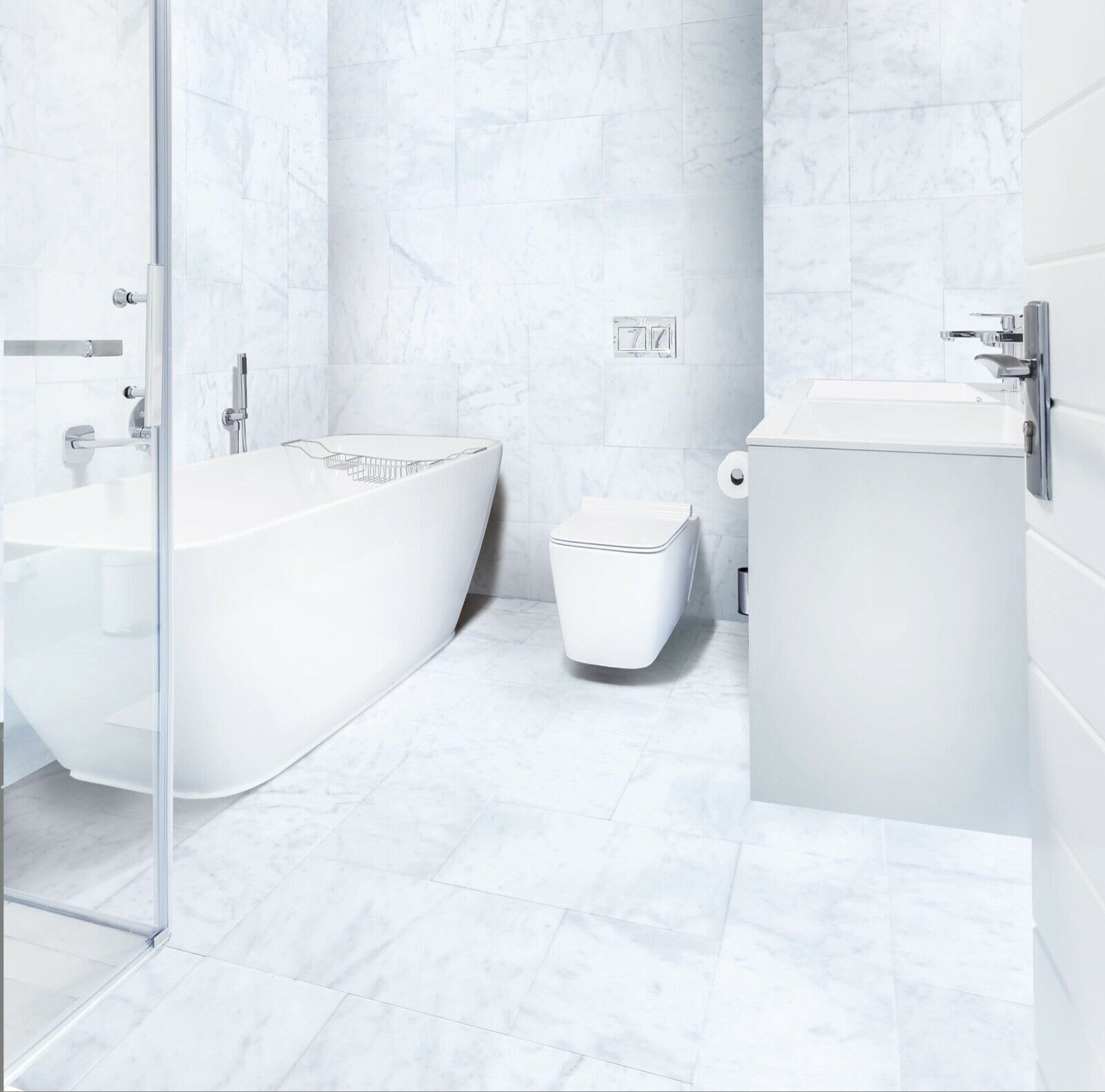 carrara white marble tile polished 12x12x3 8