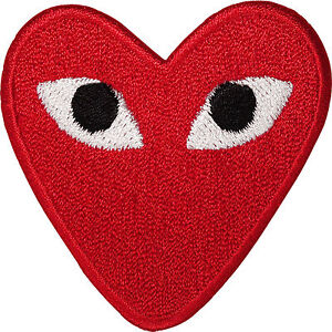 Embroidered Red Love Heart Eyes Iron On Patch Sew On