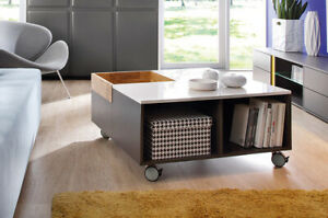 details about storage coffee table grey white gloss oak square scandinavian wheels graphic