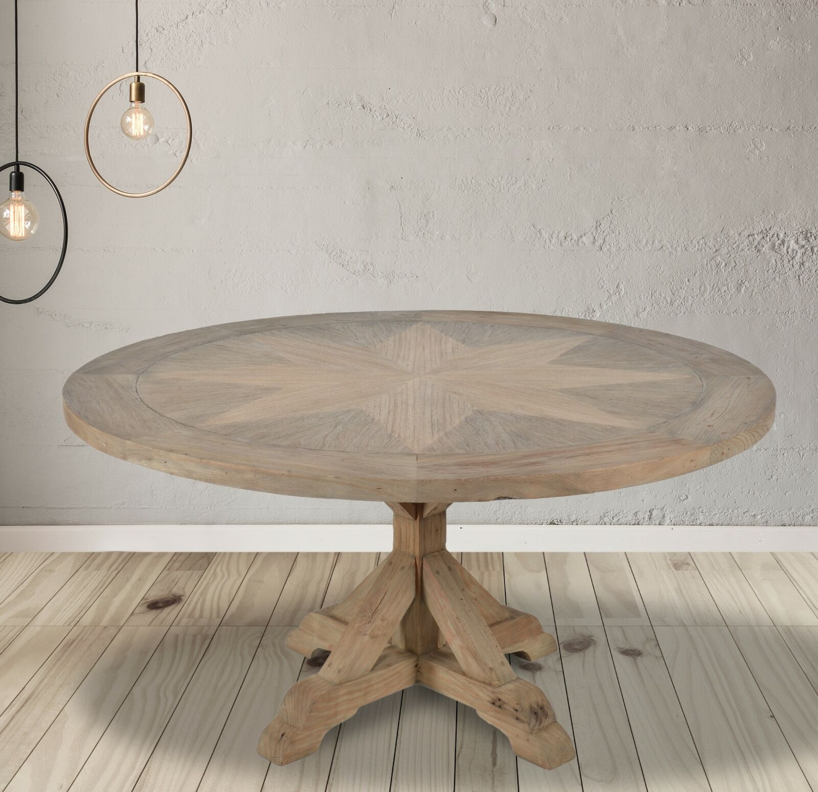 Farmhouse Dining Table Round French Country Pedestal Rustic Kitchen Nook White For Sale Online Ebay