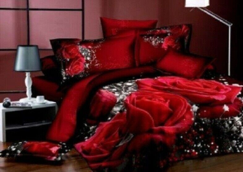 new 3d red rose queen bedding set flower print comforter set 4pcs