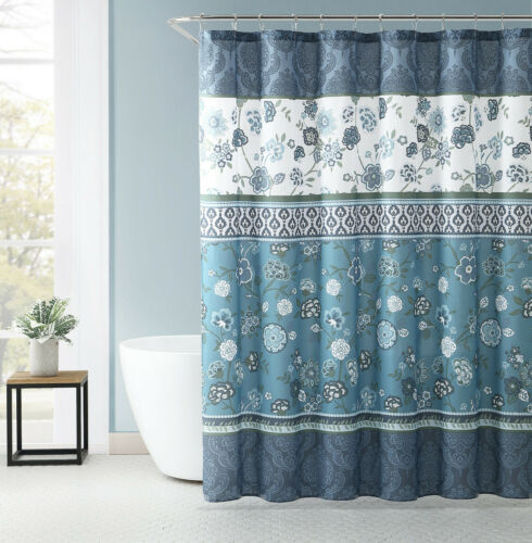 vcny home antonia blue floral medallion 13 pc fabric shower curtain hooks set bathroom supplies accessories home garden