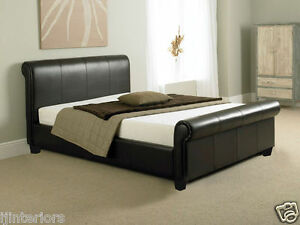 COMO 4FT6 DOUBLE BED OR KING SIZE LEATHER SLEIGH BED WITH MEMORY     Image is loading COMO 4FT6 DOUBLE BED OR KING SIZE LEATHER