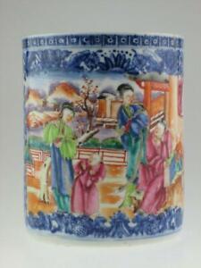 Large Antique Chinese 18th Century Mandarin Porcelain Mug Circa 1780