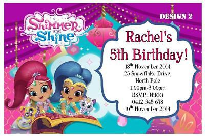 1 x shimmer and shine birthday party personalised invitations free magnets ebay