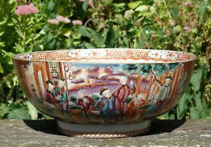 A Fine Chinese Export 'Mandarin Palette' Punch Bowl, 18th Century, Qianlong