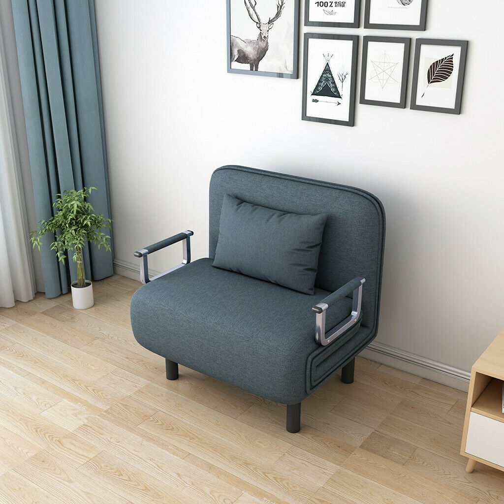Single Bed Sleeper Convertible Chair Gray For Sale Online Ebay