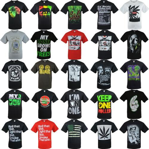 Mens-Shirts-Marijuana-Weed-Shirts-100-Cotton-AAA-Short-Sleeve-Graphic-Tee